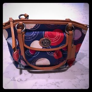 Coach purse with leather trim